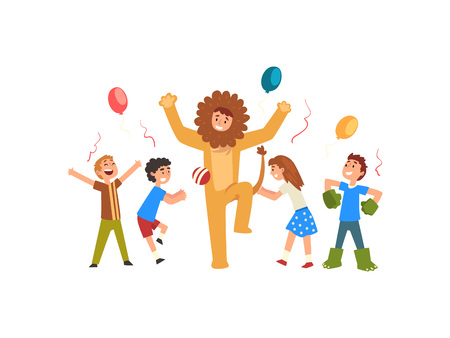 Happy Children Having Fun with Animator in Lion Costume at Birthday or Carnival Party, Entertainer in Festive Costume Performing Before Kids Vector Illustration on White Background.