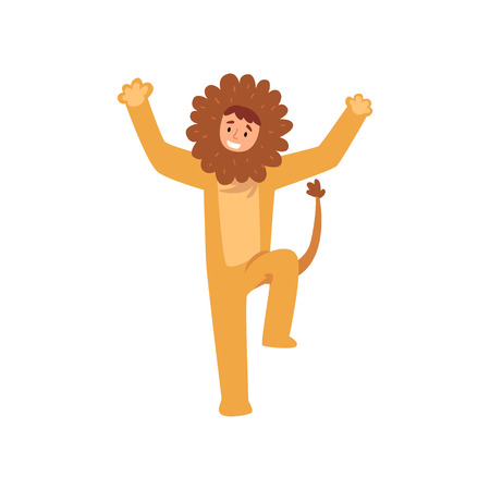 Animator in Lion Costume Performing Before Kids Birthday Party Vector Illustration on White Background.