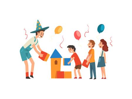 Enfants heureux s'amusant avec l'animateur à la fête d'anniversaire, artiste en costume drôle jouant avec des enfants Vector Illustration sur fond blanc. Vecteurs