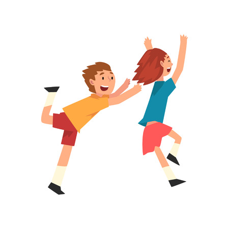 Smiling Boy And Girl Playing Together, Happy Children Having Fun at Birthday Party, Vector Illustration on White Background.