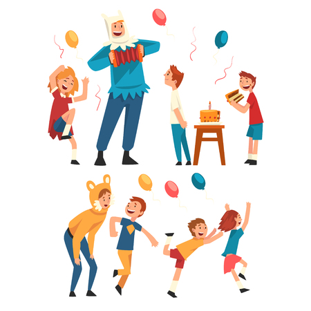 Happy Children Having Fun with Animator at Birthday Party, Entertainers in Festive Costumes Performing and Playing with Kids Vector Illustration on White Background.