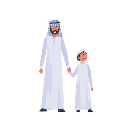 Muslim Father and His Son, Happy Arab Family in Traditional Clothes Vector Illustration
