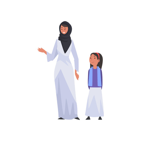 Smiling Mother and Her Daughter, Happy Arab Family in Traditional Clothes Vector Illustration Illustration