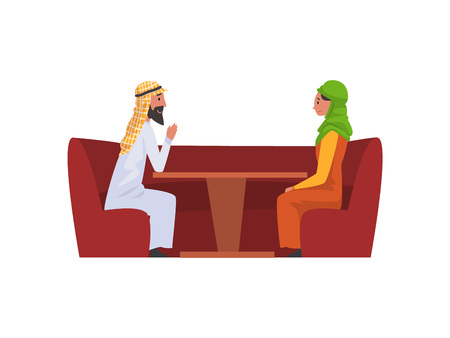 Happy Arab Family Couple in National Clothes Sitting in Cafe Vector Illustration Illustration