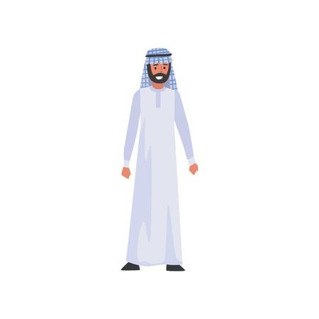 Arabischer Mann in weißer traditioneller muslimischer Kleidung Vektor-Illustration