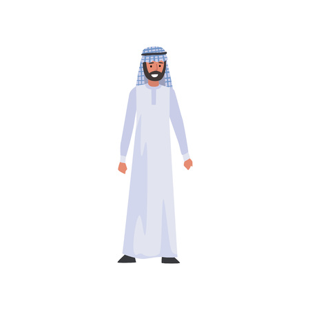 Arab Man in White Traditional Muslim Clothes Vector Illustration