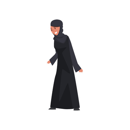 Beautiful Muslim Woman in Black Dress and Hijab, Smiling Arab Girl in Traditional Clothes Vector Illustration Иллюстрация
