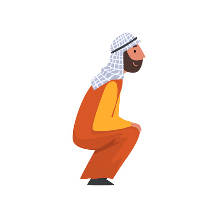 Arab Man in Traditional Muslim Clothes Squatting Vector Illustration 矢量图像