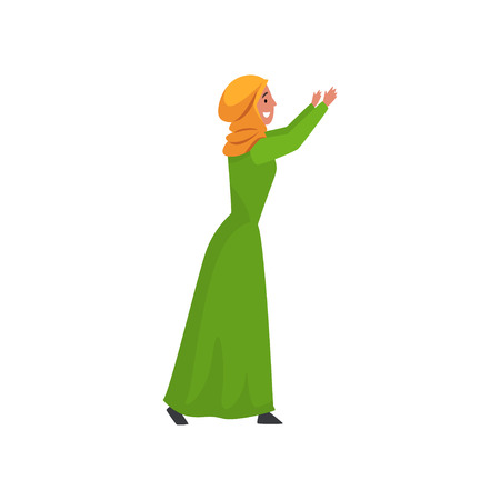 Beautiful Muslim Woman in Green Dress and Hijab, Arab Girl in Traditional Clothes Standing with Her Arms Raised Vector Illustration Ilustrace