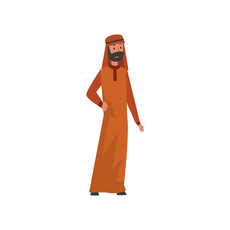 Arab Man in Traditional Muslim Clothes Vector Illustration