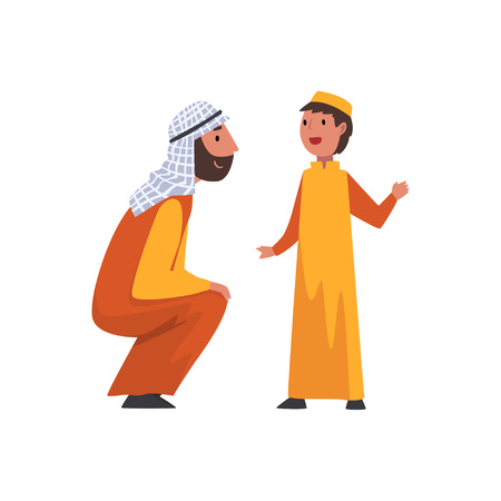 Happy Father and His Son, Muslim Arab Family in Traditional Clothes Vector Illustration Illustration
