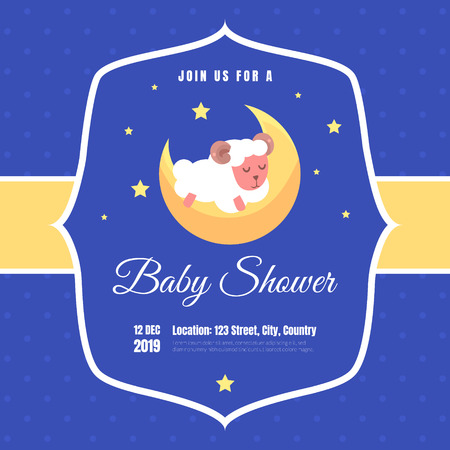 Baby Shower Invitation Template, Blue Card with Adorable Sleeping Sheep and Place For Your Text Vector Illustration, Cartoon Style