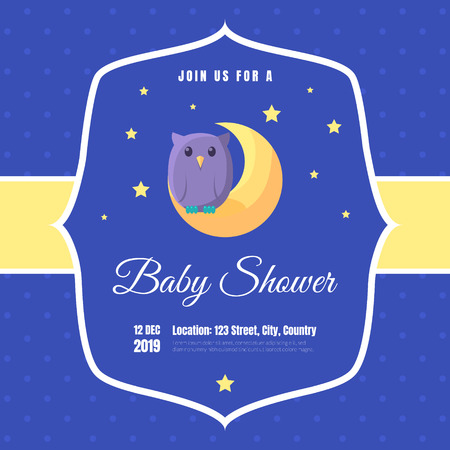 Baby Shower Invitation Template, Blue Card with Cute Owl and Place For Your Text Vector Illustration, Cartoon Style 向量圖像