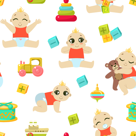 Baby Toddler Character Seamless Pattern, Cute Child in Diaper Playing and Sleeping, Design Element Can Be Used for Fabric, Wallpaper, Packaging, Background Vector Illustration. Foto de archivo - 123221532