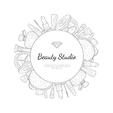 Beauty Salon Monochrome Banner Template with Place For Your Text, Cosmetics and Beauty Background with Make Up Artist Objects Vector Illustration