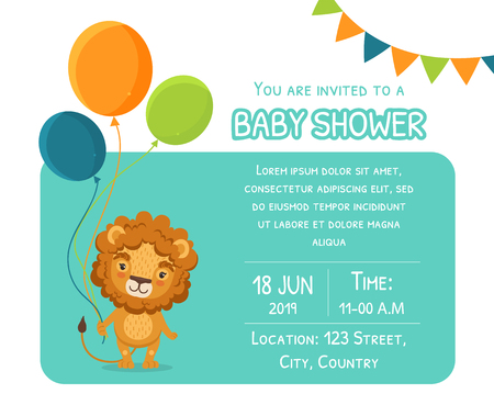 Baby Shower Invitation Template, Card with Cute Lion, Balloons and Place For Your Text, Gender Neutral Vector Illustration, Cartoon Style