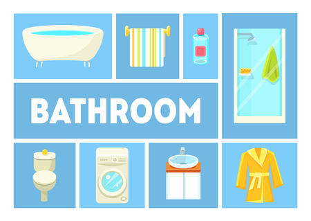 Bathroom Banner Template, Furniture and Accessories, Design Elements For Bathroom Interior Vector Illustration, Flat Style Illustration