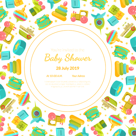 Baby Shower Invitation Template, Card with Baby Toys and Place For Your Text, Gender Neutral Vector Illustration, Cartoon Style