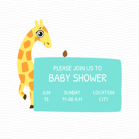 Baby Shower Invitation Template, Card with Cute Giraffe and Place For Your Text, Gender Neutral Vector Illustration, Cartoon Style Stock Illustratie