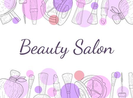 Plantilla de banner de salón de belleza, cosméticos y fondo de belleza con ilustración de vector de objetos de artista de maquillaje