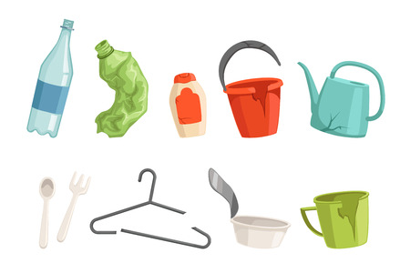 Flat vector set of plastic waste. Bottles, fork and spoon, broken clothes hanger, cup, bucket and watering can. Sorting and recycling household garbage