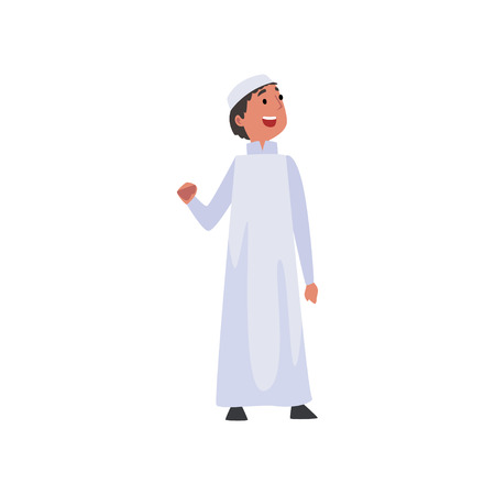 Cute Arab Boy in White Traditional Muslim Clothes Vector Illustration
