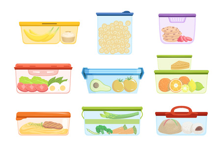 Set of plastic containers with various food vegetables, fruits, sweets, macaroni. Dessert for lunch. Mashed potatoes with pork chop. Colorful flat vector illustration isolated on white background.