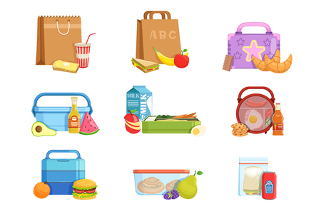 Flat vector set of school lunch boxes and bags with food and drinks. Tasty meal for kids Stock Vector - 121316489