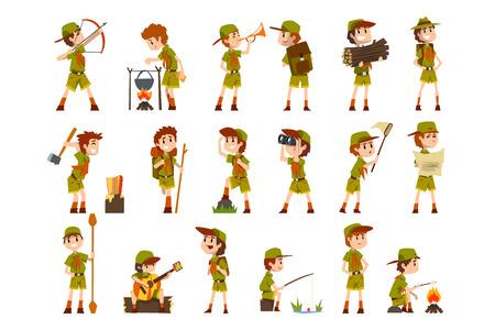 Set di ragazzi scout, boy scout con attrezzatura da escursionismo, attività del campo estivo vettoriale illustrazioni isolate su sfondo bianco.