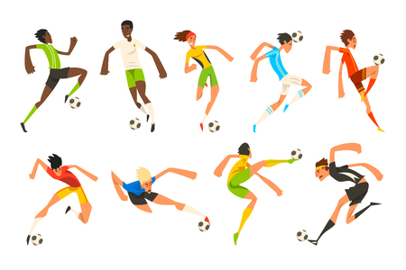 Soccer player set, football athletes playing, kicking, training and practicing vector Illustrations isolated on a white background.