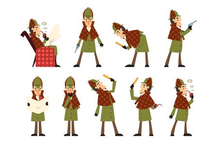 Set mit Sherlock in verschiedenen Aktionen denken, Zeitung lesen, Pfeife rauchen, in die Lupe schauen, mit Pistole in der Hand stehen. Detektiv in Jagdmütze und Regenmantel. Flaches Vektordesign. Vektorgrafik