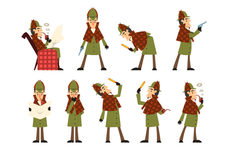 Set with Sherlock in different actions thinking, reading newspaper, smoking pipe, looking into magnifying glass, standing with gun in hand. Detective in hunting cap and raincoat. Flat vector design.