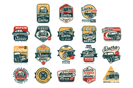 Car repair vintage style labels set, auto service logo, badge vector Illustrations on a white background Vettoriali