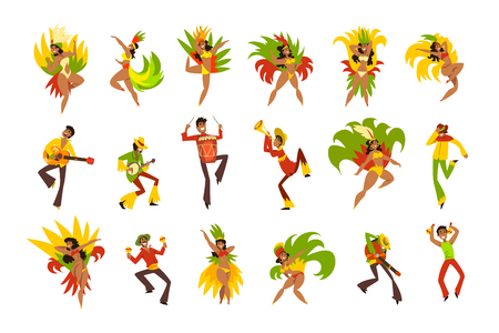 People dancing and playing music, Brazil carnival, dancing men and women in bright costumes vector Illustrations on a white background