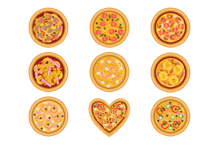 Flat vector set of tasty pizza with different ingredients pepperoni, bacon, shrimps, tomatoes. Delicious fast food. Traditional Italian dish. Design for promo poster, flyer, cafe or pizzeria menu.