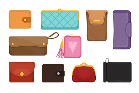 Collection of stylish wallets. Pocket-sized holder for money and plastic cards. Small women bag to carry everyday personal items. Colorful flat vector illustrations isolated on white background.