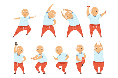 Uomo anziano che fa esercizi mattutini, stile di vita attivo e sano dei pensionati vettoriale illustrazione isolato su sfondo bianco.