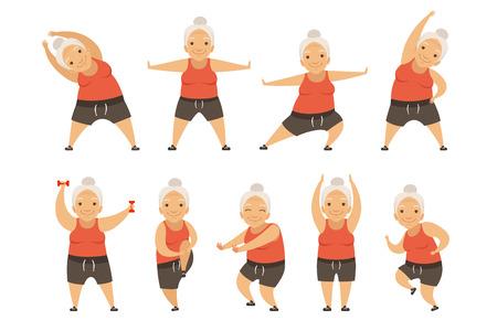 Senior vrouw doen ochtend oefeningen, actieve en gezonde levensstijl van gepensioneerden vector illustratie geïsoleerd op een witte achtergrond. Vector Illustratie
