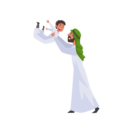 Happy Father Playing with His Little Son, Muslim Arab Family in Traditional Clothes Vector Illustration Illustration