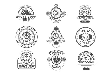 Watch shop and repair service logo set, retro badges with clocks in monochrome style vector Illustrations on a white background