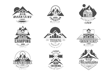 Mountain, expedition logo set, camping, trekking retro badges in monochrome style vector Illustrations on a white background