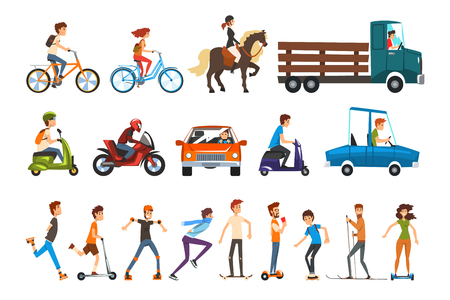 People on the street set, various vehicles cartoon vector Illustration isolated on a white background.