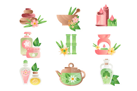 Spa treatment symbols set, basalt stones, aromatic oils, lotions, candles vector Illustrations isolated on a white background. 向量圖像