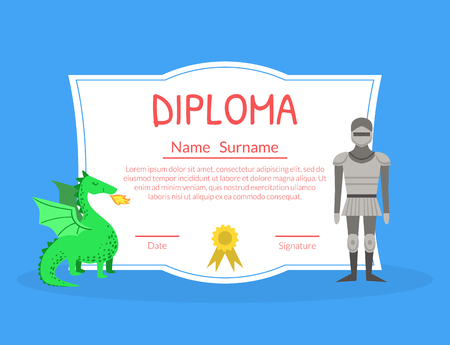 Colorful Diploma Template for Kids with Place For Your Text, Preschool, Kindergarten Children Certificate with Knight and Dragon Bright Vector Illustration.