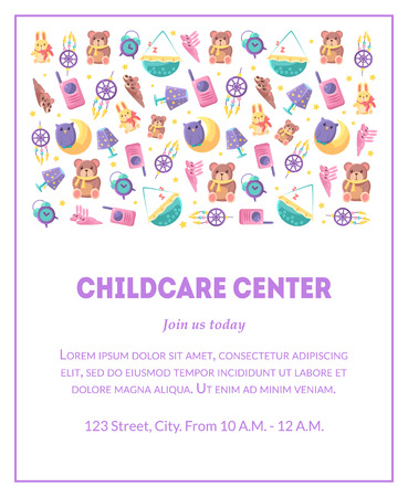 Childcare Center Banner Template with Cute Baby Toys and Place for Text, Design Element Can Be Used for Landing Page, Mobile App, Flyer, Gift Card Vector Illustration
