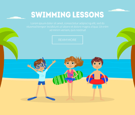 Swimming Lessons Banner Template with Cute Kids on Tropical Beach Background, Design Element Can Be Used for Landing Page, Mobile App Vector Illustration, Web Design Illustration