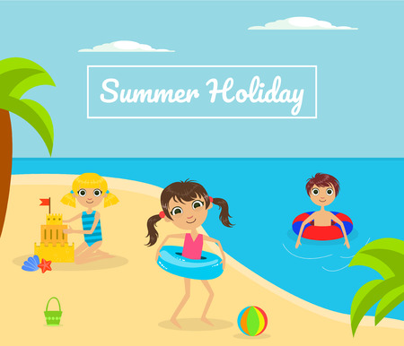 Summer Holliday Banner Template with Cute Kids Playing on Tropical Beach Vector Illustration, Web Design