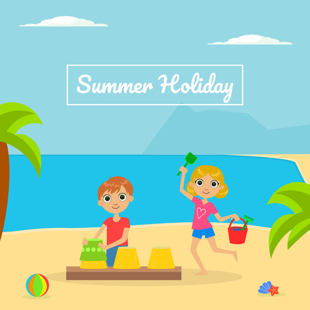 Summer Holliday Banner Template with Cute Boy and Girl Playing on Tropical Beach Vector Illustration, Web Design