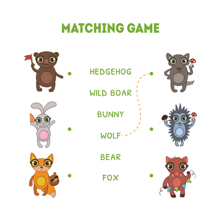 Matching Game, Hedgehog, Wild Boar, Wolf, Fox, Bunny, Bear, Word Matching Quiz Educational Game for Kids Vector Illustration