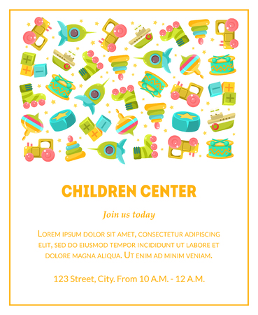 Children Center Banner Template with Cute Baby Toys and Place for Text, Design Element Can Be Used for Landing Page, Mobile App, Flyer, Gift Card Vector Illustration Ilustracja